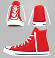 red canvas sneakers vector image vector image