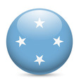 Round glossy icon of micronesia vector image vector image