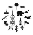 russia icons set simple style vector image
