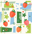 seamless mid century modern pattern strawberries vector image