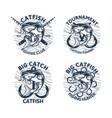 set catfish fishing logo club tournament big vector image