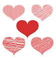 set of hand drawn heart doodles vector image vector image
