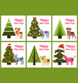 set of happy new year posters christmas trees dogs vector image vector image