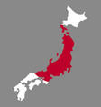 silhouette country borders map of japan on vector image vector image