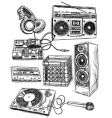 sketchy music elements vector image vector image