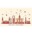 Skyline Saudi Arabia silhouette linear style vector image vector image