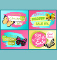 spring discount sale off set emblems butterflies vector image vector image