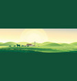 summer rural landscape from cows and farm dawn vector image