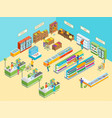 supermarket or shop interior with furniture vector image vector image