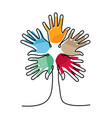 tree of human hands for social culture design vector image vector image