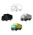 truck with awningcar single icon in cartoonblack vector image vector image