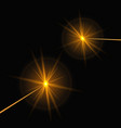 two yellow laser beams vector image