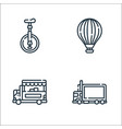 vehicles transports line icons linear set quality vector image vector image