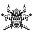 viking skull in horned helmet with crossed swords vector image