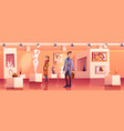 visitors in museum with modern artworks vector image