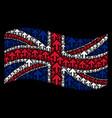 waving united kingdom flag pattern of arrow up vector image