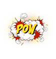 word pow on comic cloud explosion background vector image vector image