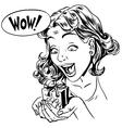 Wow gift girl reaction vector image vector image