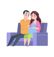 young parents at home future father and pregnant vector image vector image