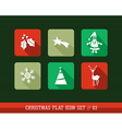 Merry Christmas colorful web apps flat icons set vector image