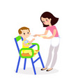 mom feeds baby cute characters vector image