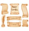 Watercolor ancient paper scrolls vector image