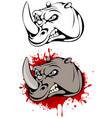 head of angry rhinoceros vector image
