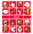 a set of delicious desserts and healthy food vector image