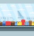 airport conveyor belt with passenger luggage bags vector image vector image