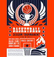basketball game season tournament vector image vector image
