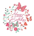Birthday card with beautiful butterfly and flowers vector image vector image