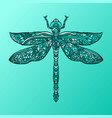 blue dragonfly in mandala style stylized insect vector image