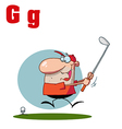 Cartoon golfer with letter vector image vector image
