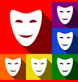 comedy theatrical masks set of icons with vector image