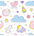 cute baby care seamless pattern with cloud vector image vector image