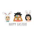 Diverse kids childrens heads happy easter