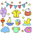 doodle of toy baby set vector image vector image