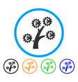 euro technology tree rounded icon vector image vector image