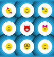 flat icon face set of tears joy smile and other vector image