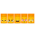 funny yellow posters with comic cartoon faces vector image