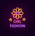 girl fashion neon sign vector image vector image