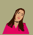 girl with pink shirt on white background vector image vector image
