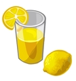 Glass of freshly squeezed lemon juice and fruit vector image