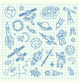 hand drawn space shuttle elements vector image vector image
