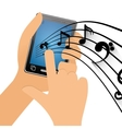 hand touch mobile phone note music vector image