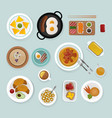 healthy breakfast food top view vector image vector image