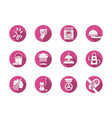 housekeeping pink round icons set vector image vector image