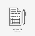invoice flat line icon receipt paper with pen vector image vector image