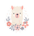 lama cute animal baface with flowers and leaves vector image