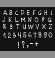 latin alphabet with numbers texture white chalk vector image